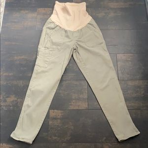 Ankle Length Olive Green Maternity Pants